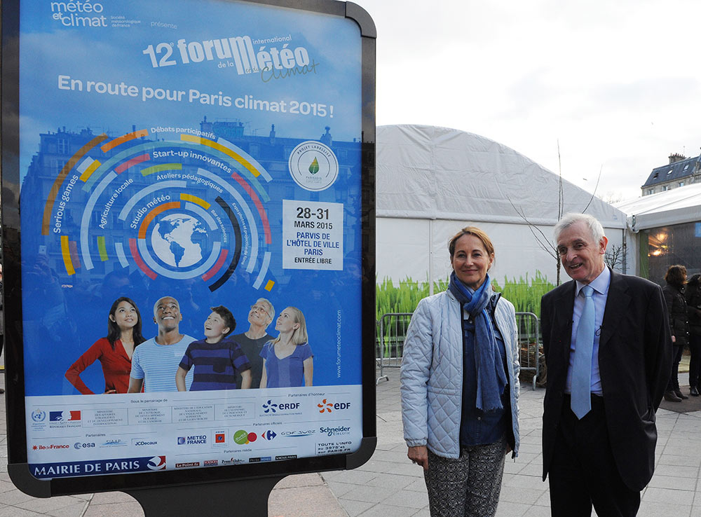 Jean Jouzel et Ségolène Royal Ministre de l'Environnement, de l'Énergie et de la Mer, au Forum International de la Météo et du Climat